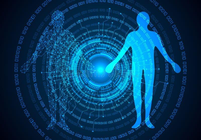 抽象科学概念人体数字式医疗保健和circ 向量例证