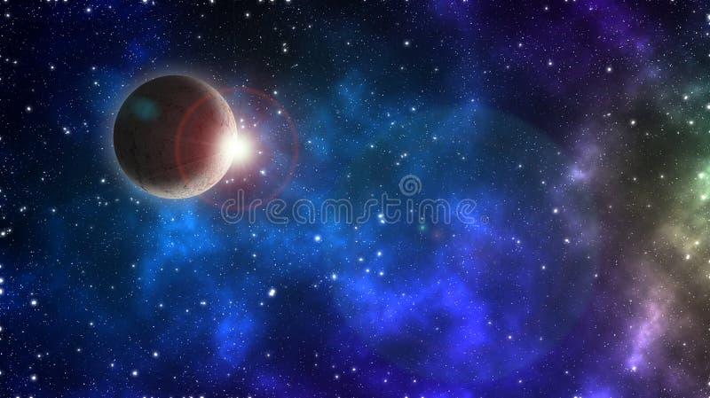 抽象科学背景-与日出闪光的发光的行星地球在太空船星系的 库存例证