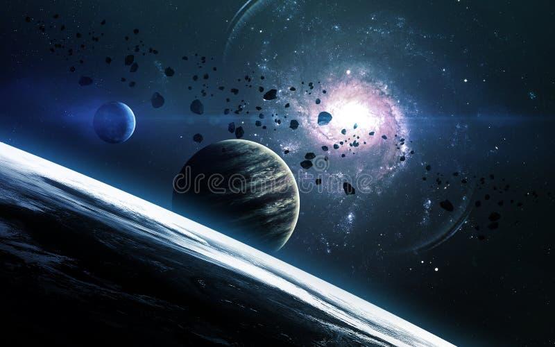 抽象科学背景-在空间、星云和星的行星 美国航空航天局美国航空航天局装备的这个图象的元素 gov. 免版税库存图片