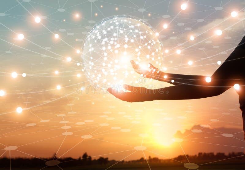 抽象科学,圈子全球网络连接 免版税图库摄影