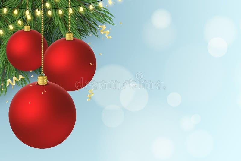 抽象空白背景圣诞节黑暗的装饰设计模式红色的星形 在杉树的圣诞节红色球 与蛇纹石的飞行的五彩纸屑 发光的金光诗歌选 怒视bokeh 库存例证