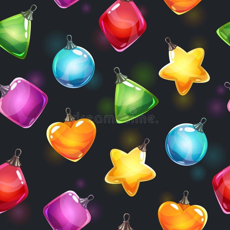 抽象空白背景圣诞节黑暗的装饰设计模式红色的星形 与五颜六色的光滑的新年发光的玩具的欢乐无缝的样式 向量例证