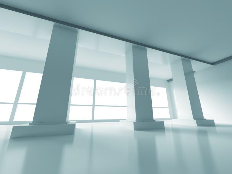 抽象空的内部现代建筑学背景 皇族释放例证