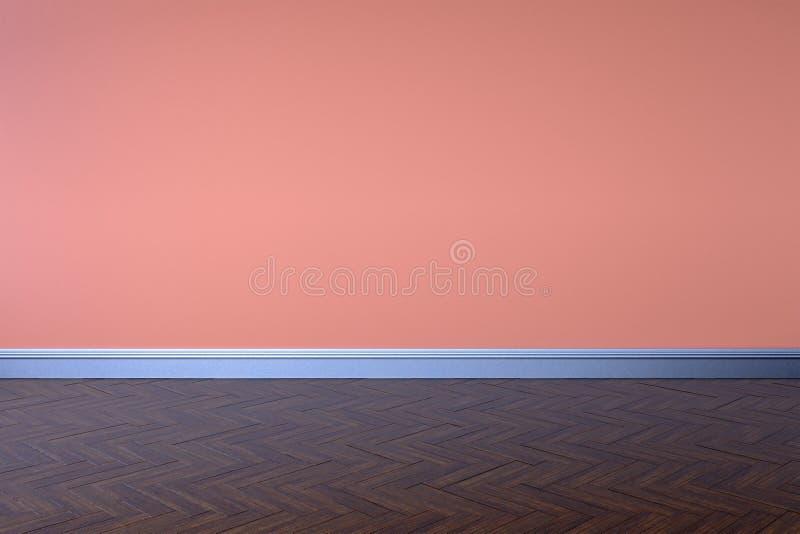 抽象空的内部背景空白红色桃红色墙壁角落和木头难倒当代, 3D翻译 向量例证