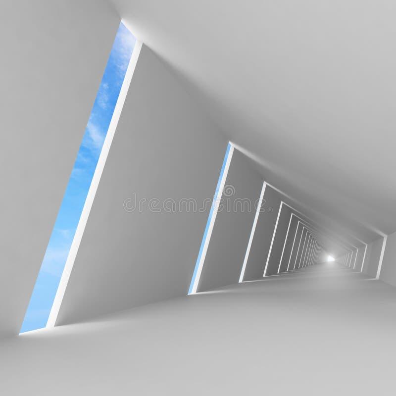 抽象空的白色3d内部背景 皇族释放例证