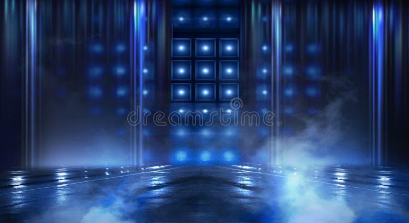 抽象空的隧道,走廊,照亮由霓虹灯,烟 皇族释放例证