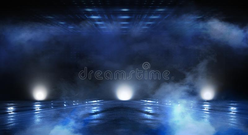 抽象空的隧道,走廊,照亮由霓虹灯,烟 库存例证
