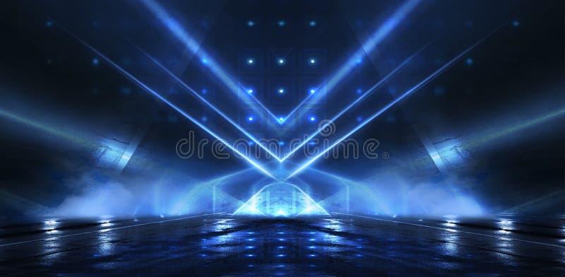 抽象空的隧道,走廊,照亮由霓虹灯,烟 向量例证