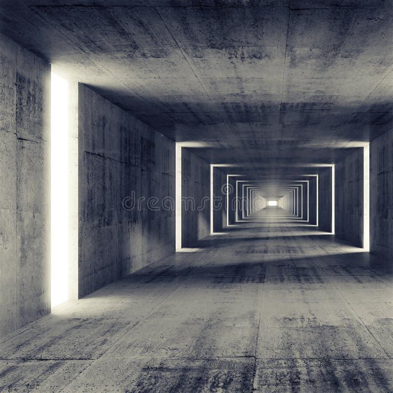 抽象空的黑暗的具体隧道内部 库存例证