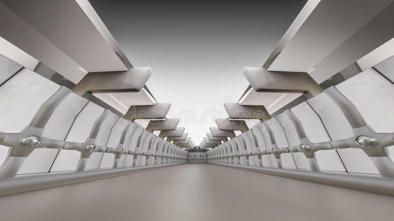 抽象空的3d内部背景,白色走廊 库存例证