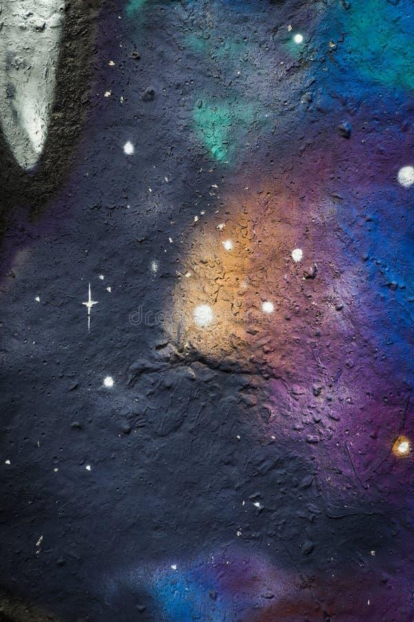 抽象空间墙壁街道画背景 免版税库存图片