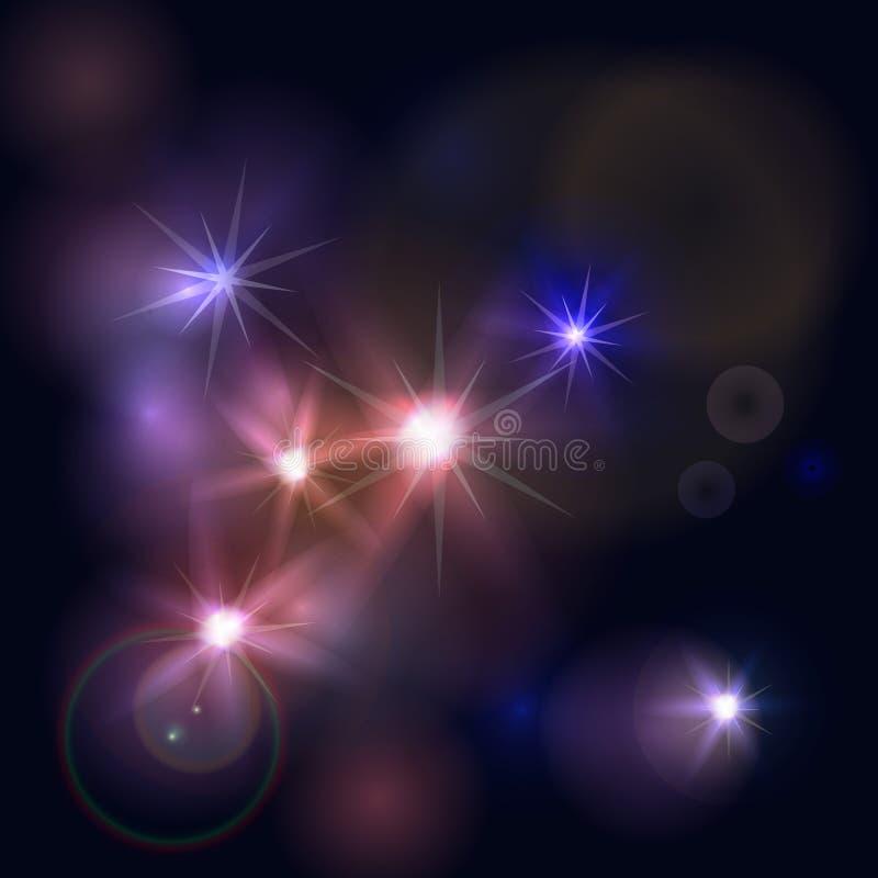 抽象空间有闪闪发光星背景 夜空的发光的作用 也corel凹道例证向量 向量例证