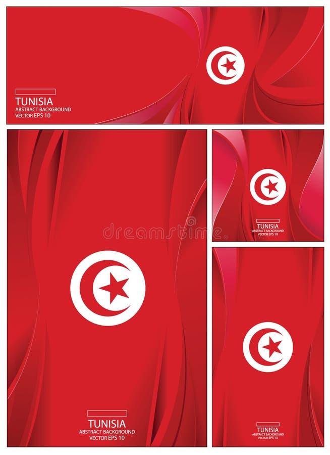 抽象突尼斯旗子背景小册子传染媒介例证 库存例证