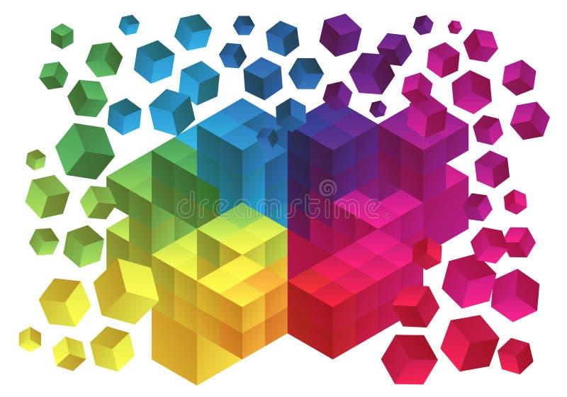 抽象立方体背景 库存例证