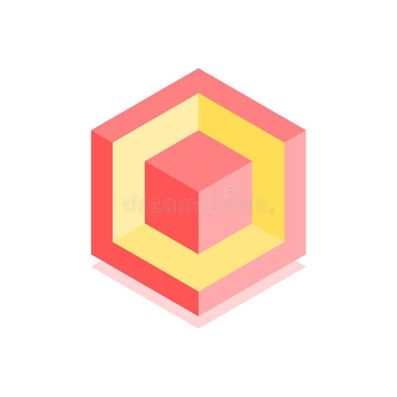 抽象立方体象 盖子的等量例证在平的3D样式设计 传染媒介几何商标 向量例证