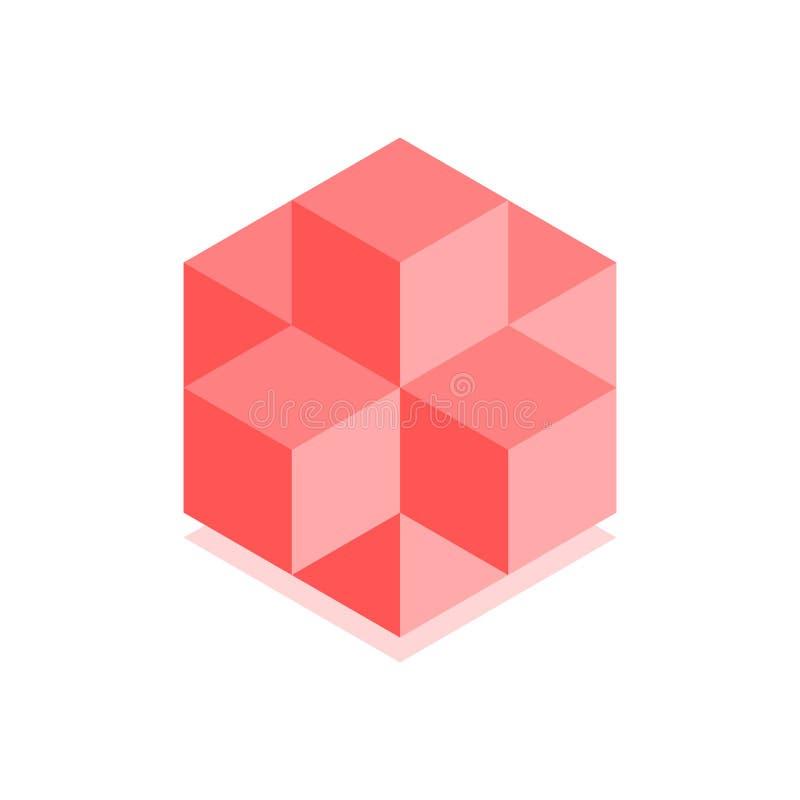 抽象立方体象 盖子的等量例证在平的3D样式设计 传染媒介几何商标 皇族释放例证