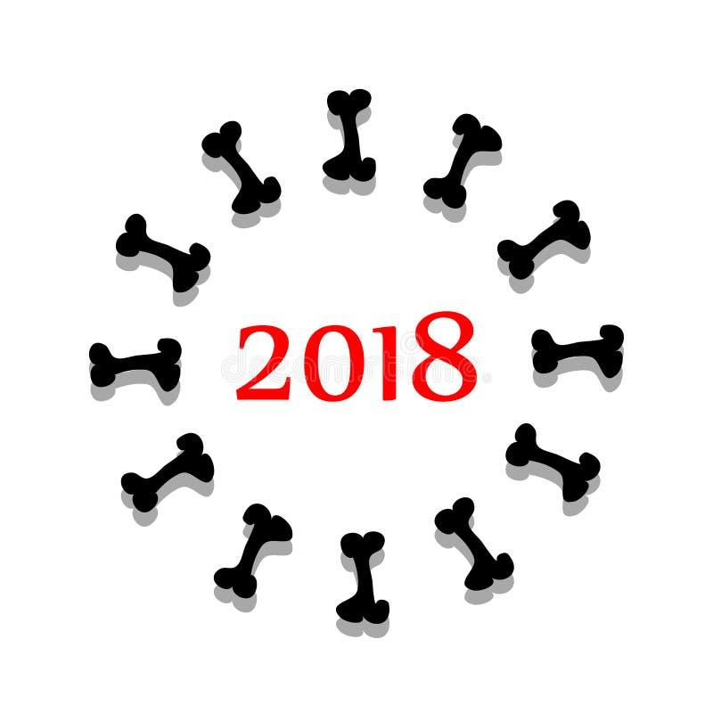 抽象符号与骨头的2018年 向量 库存例证