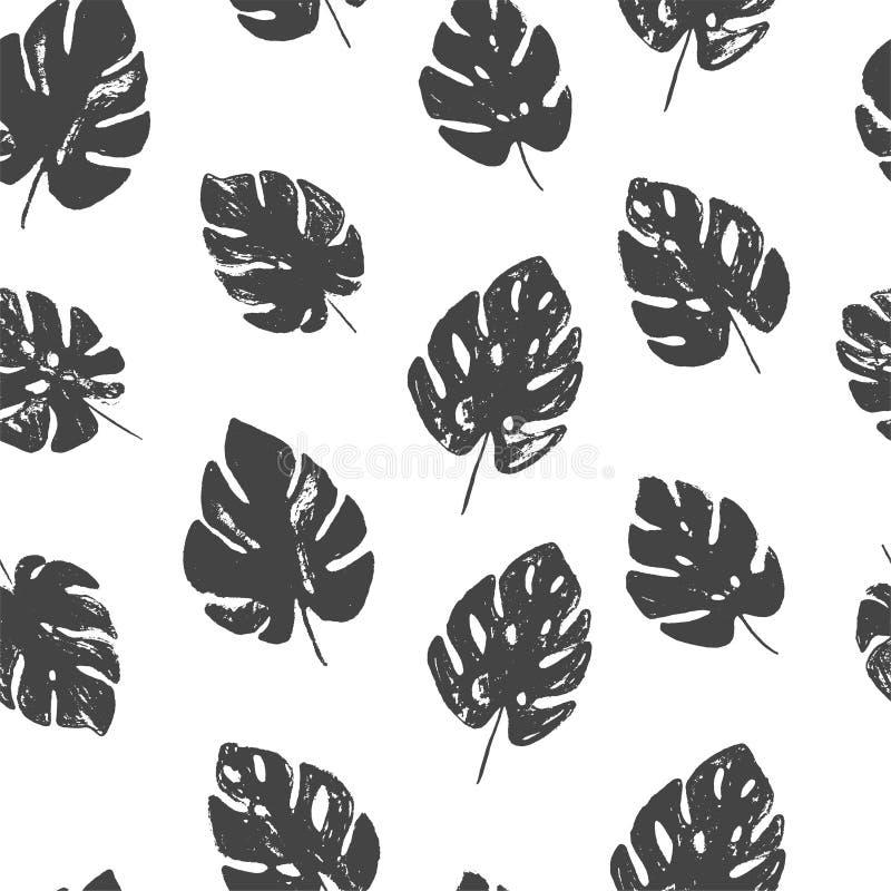 抽象简单的花卉与时髦手拉的纹理的monstera无缝的样式在黑白颜色 库存例证