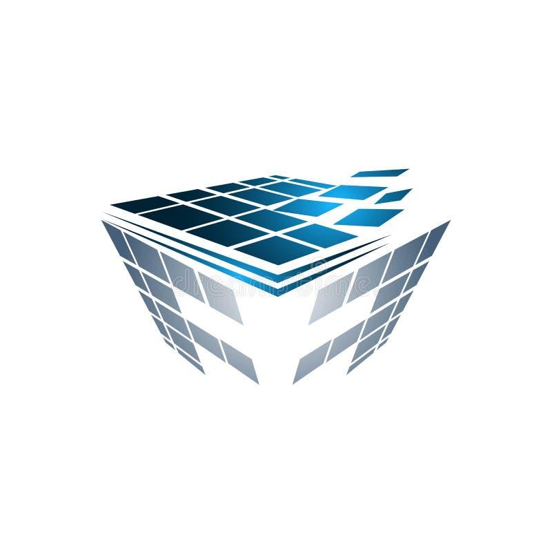 抽象箱子立方体商标象模板 应用程序和技术事 库存例证