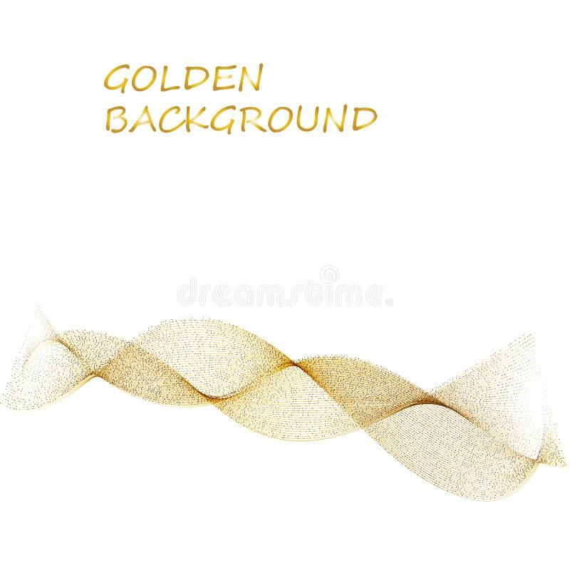 抽象米黄线在白色背景的金黄波浪黄色带 库存例证