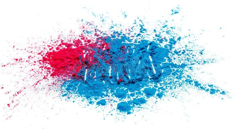 抽象粉末splatted背景 在白色背景的五颜六色的粉末爆炸 色的云彩 五颜六色的尘土爆炸 油漆 图库摄影