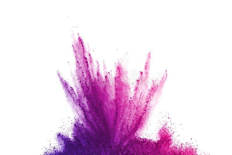 抽象粉末splatted背景 在白色背景的五颜六色的粉末爆炸 色的云彩 五颜六色的尘土爆炸 油漆 库存图片