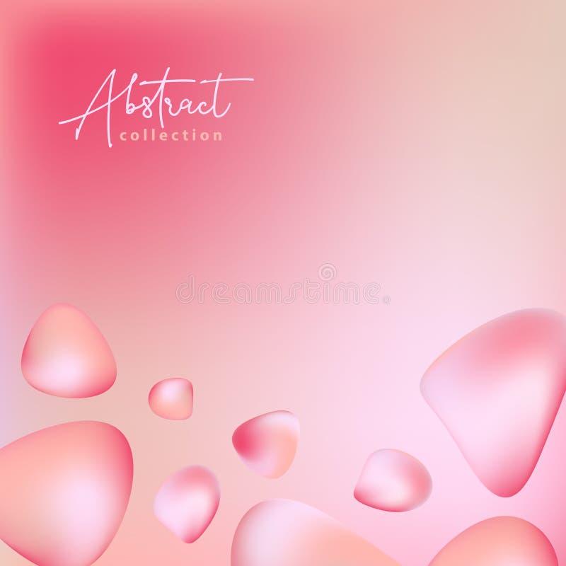 抽象粉红彩笔,红色与可变的梯度3d形状,液体颜色的传染媒介时髦背景 被隔绝的可变的设计元素 库存例证