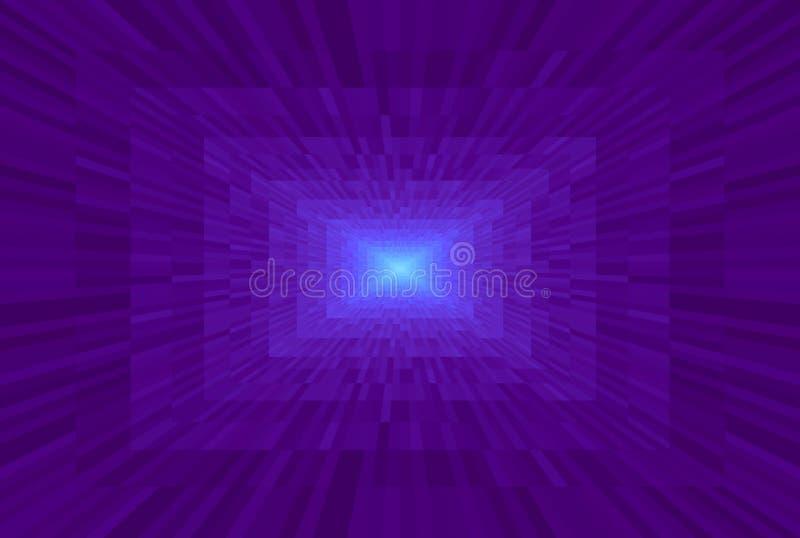 抽象紫罗兰色梯度背景 与长方形块的纹理在透视 马赛克样式光在隧道尽头 库存例证