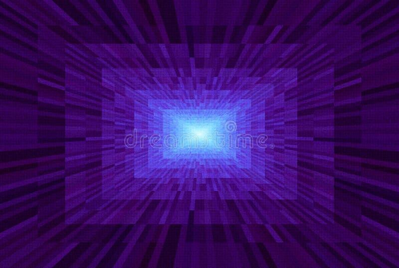 抽象紫罗兰色梯度背景 与长方形块的纹理在透视 马赛克样式光在隧道尽头 向量例证