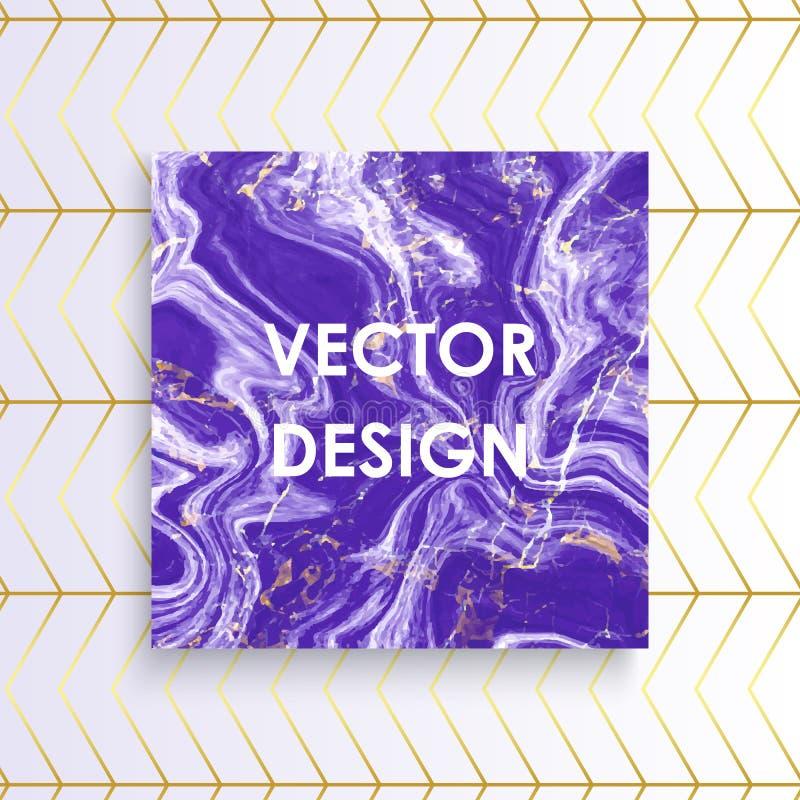 抽象紫色大理石纹理卡片,导航紫色金线样式背景,安置您的文本 皇族释放例证