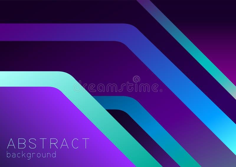 抽象紫色,紫罗兰色和蓝色背景以3d交叠,霓虹作用 皇族释放例证