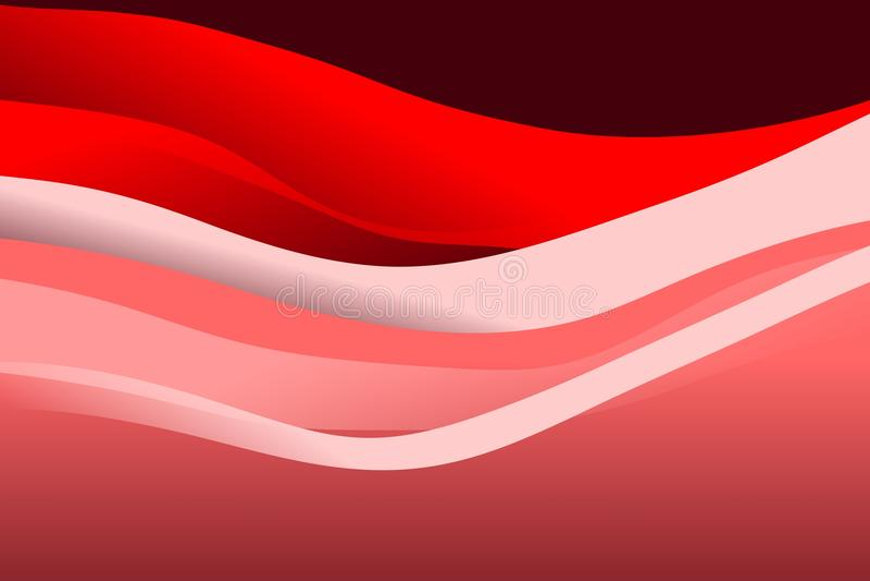 抽象红色和白色波浪背景 皇族释放例证
