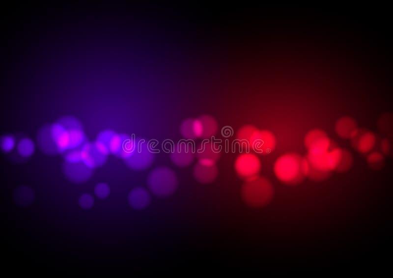 抽象红色和蓝色轻的bokeh背景 皇族释放例证