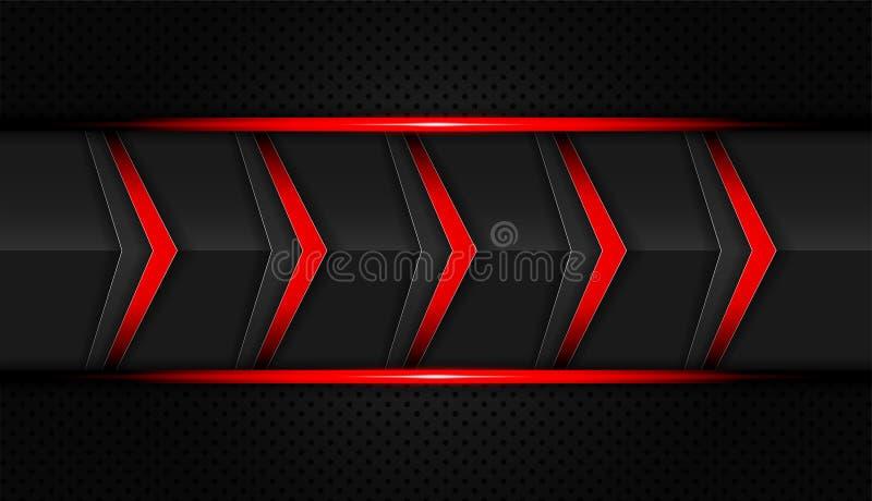 抽象红色和黑色梯度对比技术箭头背景 传染媒介例证公司设计 皇族释放例证