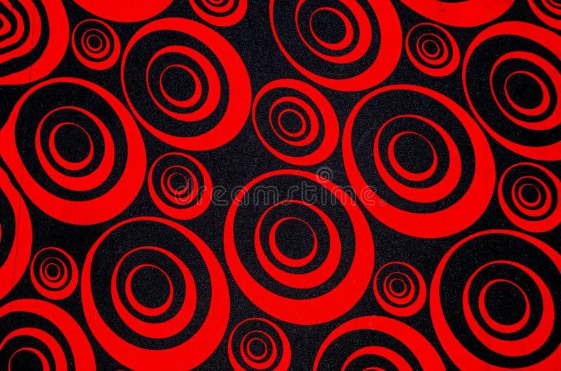 抽象红色和黑圈子 免版税库存照片