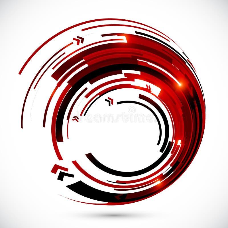 抽象红色和黑techno箭头框架 皇族释放例证