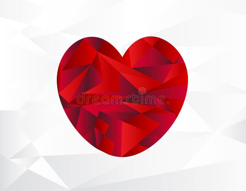 抽象红色心脏几何背景 库存例证