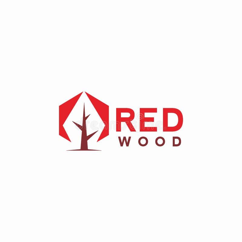 抽象红色木商标设计观念 库存例证