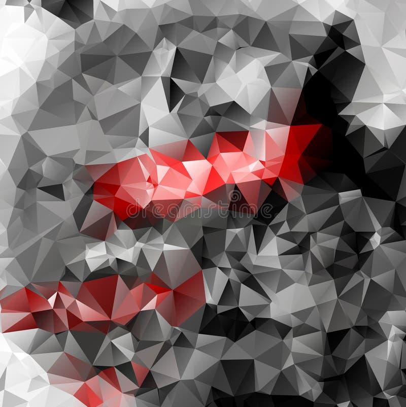 抽象红色灰色多角形传染媒介背景 皇族释放例证