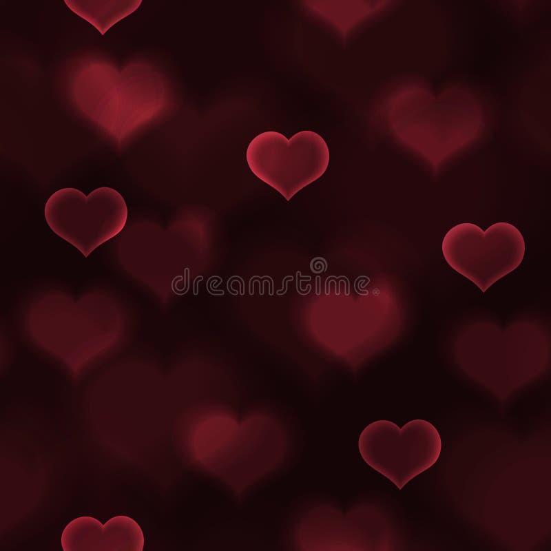 抽象红色爱心脏点燃bokeh华伦泰样式eps10 皇族释放例证