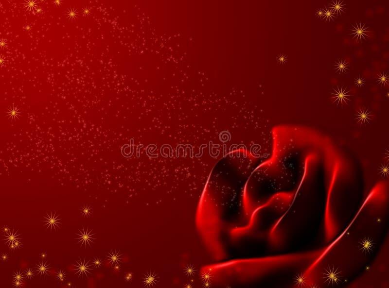 抽象红色玫瑰光亮的星形 向量例证