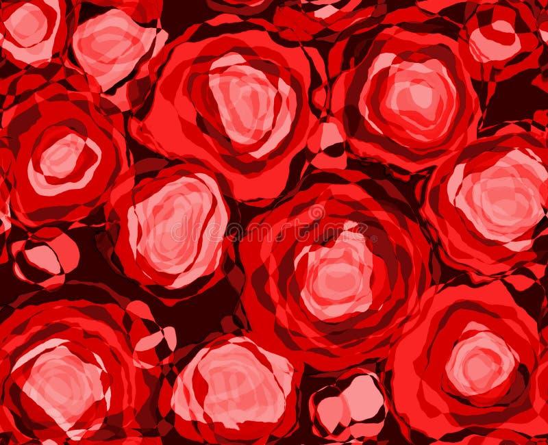 抽象红色玫瑰 向量例证