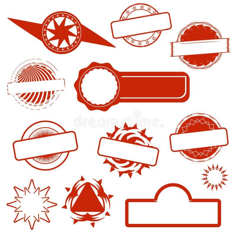 抽象红色空的难看的东西邮票 库存例证