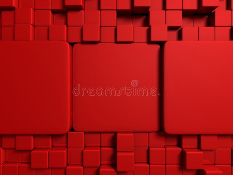 抽象红色立方体阻拦墙壁背景 皇族释放例证