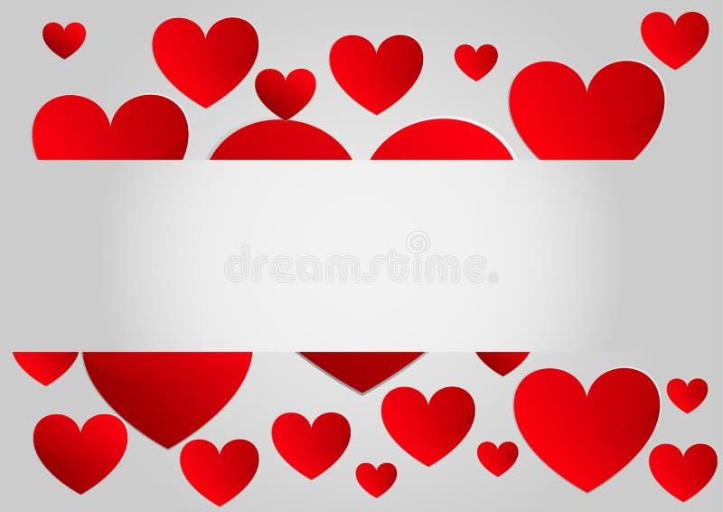 抽象红色纸心脏背景 抽象背景设计例证马赛克 库存例证