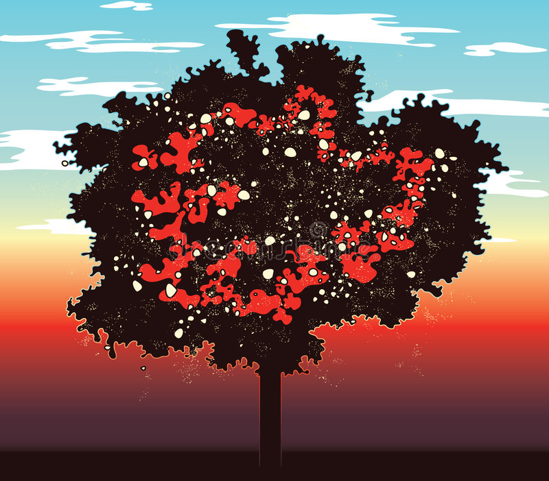 抽象红色结构树 库存例证