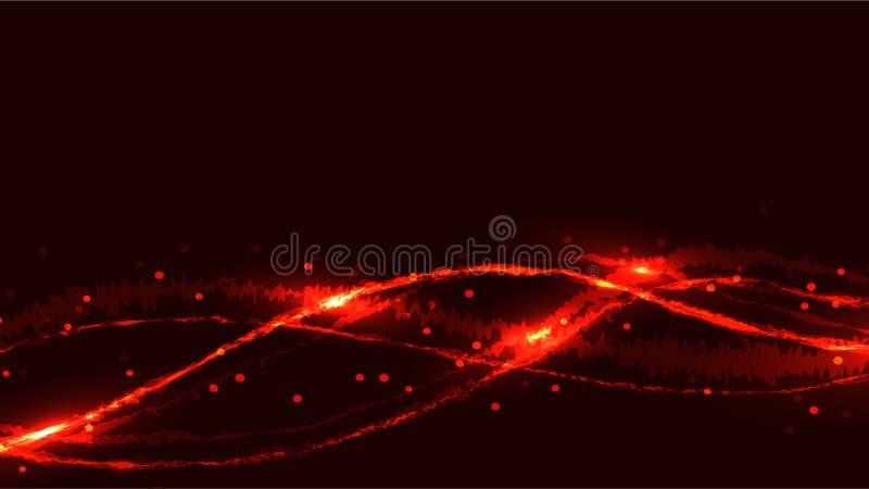 抽象红色色的能量发光的明亮的火呈了杂色烧从波浪带的氖不可思议的美好的图样式  库存例证
