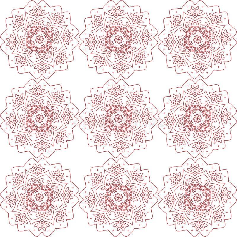 抽象红色花纹花样 向量例证