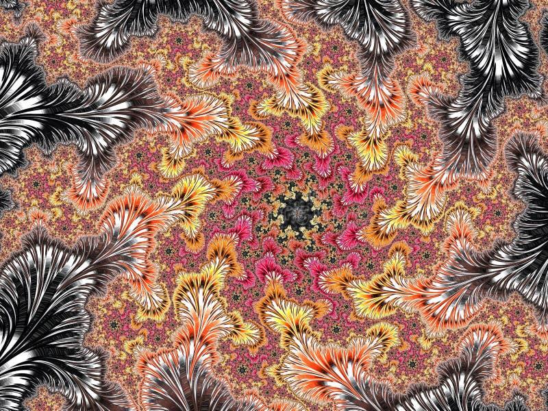 抽象红色,黄色和银色织地不很细螺旋分数维样式,3d为海报、设计和娱乐回报 r 向量例证