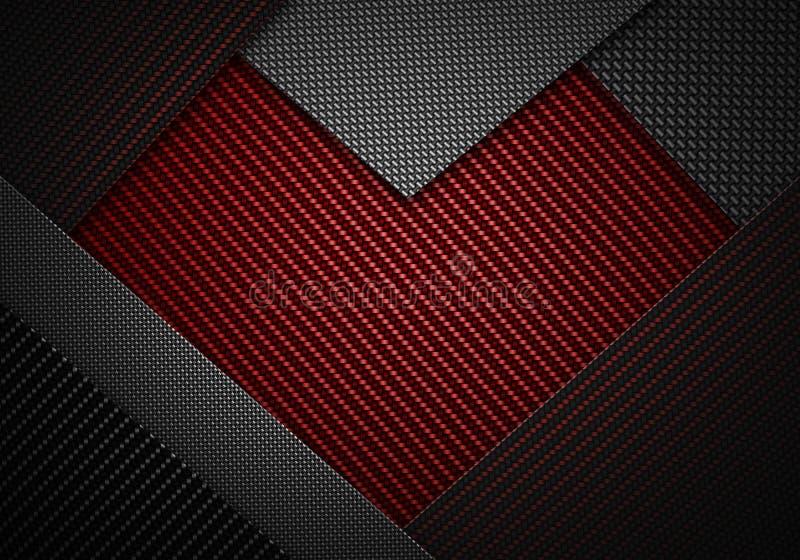 抽象红色黑碳纤维构造了心脏形状材料de 库存例证